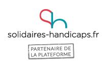Logo du site solidaires-handicaps.fr : la lettre S rouge et le H vert collés et coupés à leur base.