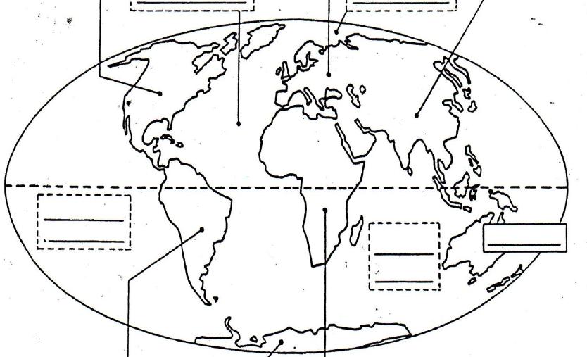 image Situer sur un planisphère les continents et les océans