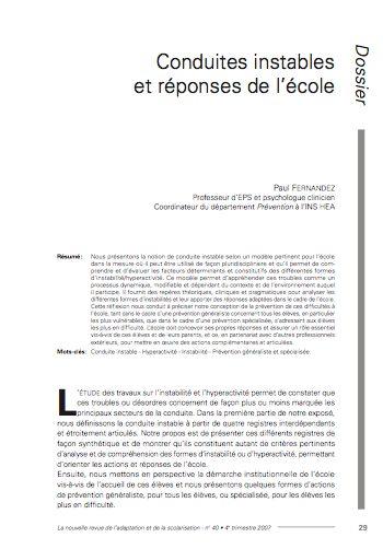 """Première page de l'article """"Conduites instables et réponses de l'école"""""""