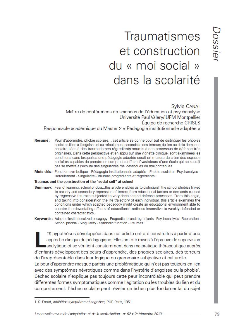 Première page de l'article de Sylvie Canat, Nras 62