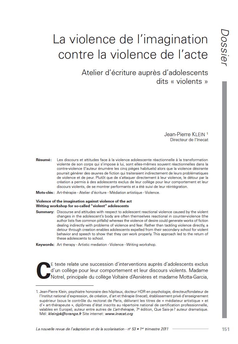 """Première page de l'article """"La violence de l'imagination contre la violence de l'acte. Atelier d'écriture auprès d'adolescents dits """"violents"""""""""""