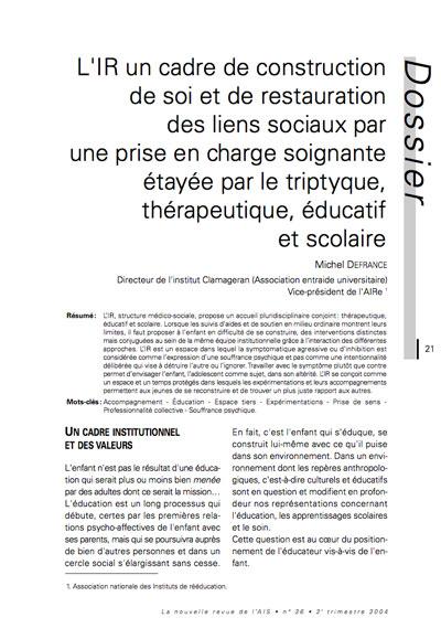 """Première page de l'article """"L'IR un cadre de construction de soi et de restauration des liens sociaux par une prise en charge soignante étayée par le triptyque, thérapeutique, éducatif et scolaire"""""""