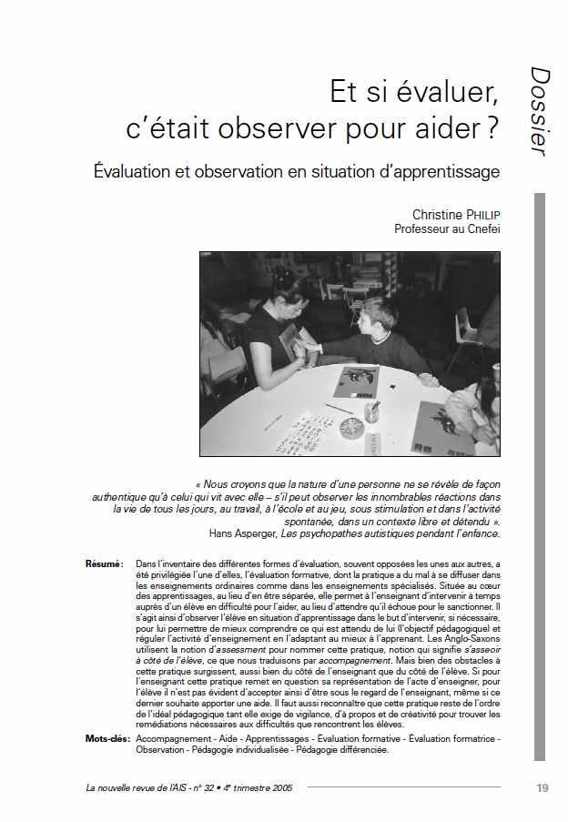 """Première page de l'article de La Nras 32 : """"Et si évaluer, c'était observer pour aider ? Évaluation et observation en situation d'apprentissage"""""""