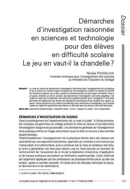 """Première page de l'article de La Nras 33 : """"Démarches d'investigation raisonnée en sciences et technologie pour des élèves en difficulté scolaire. Le jeu en vaut-il la chandelle ?"""""""