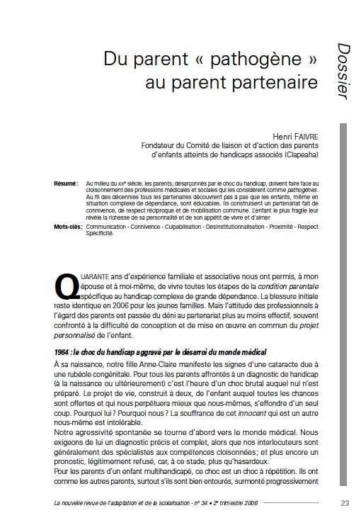 """Première page de l'article de La Nras 34 : """"Du parent « pathogène » au parent partenaire"""""""