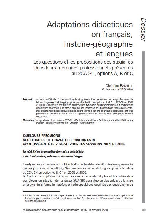 """Première page de l'article de La Nras n°35 : """"Adaptations didactiques en français, histoire-géographie et langues. Les questions et les propositions des stagiaires dans leurs mémoires professionnels présenté au 2CA-SH, options A, B et C"""""""