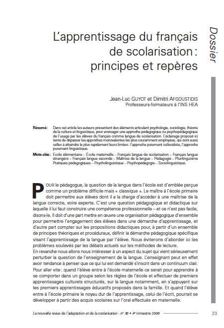 """Première page de l'article de La Nras36 : """"L'apprentissage du français de scolarisation : principes et repères"""""""