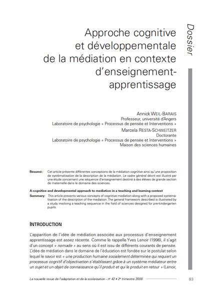 """Première page de l'article """"Approche cognitive et développementale de la médiation en contexte d'enseignement-apprentissage"""""""