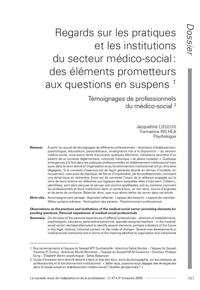 """Première page de l'article """"Regards sur les pratiques et les institutions du secteur médico-social : des éléments prometteurs aux questions en suspens. Témoignages de professionnels du médico-social"""""""