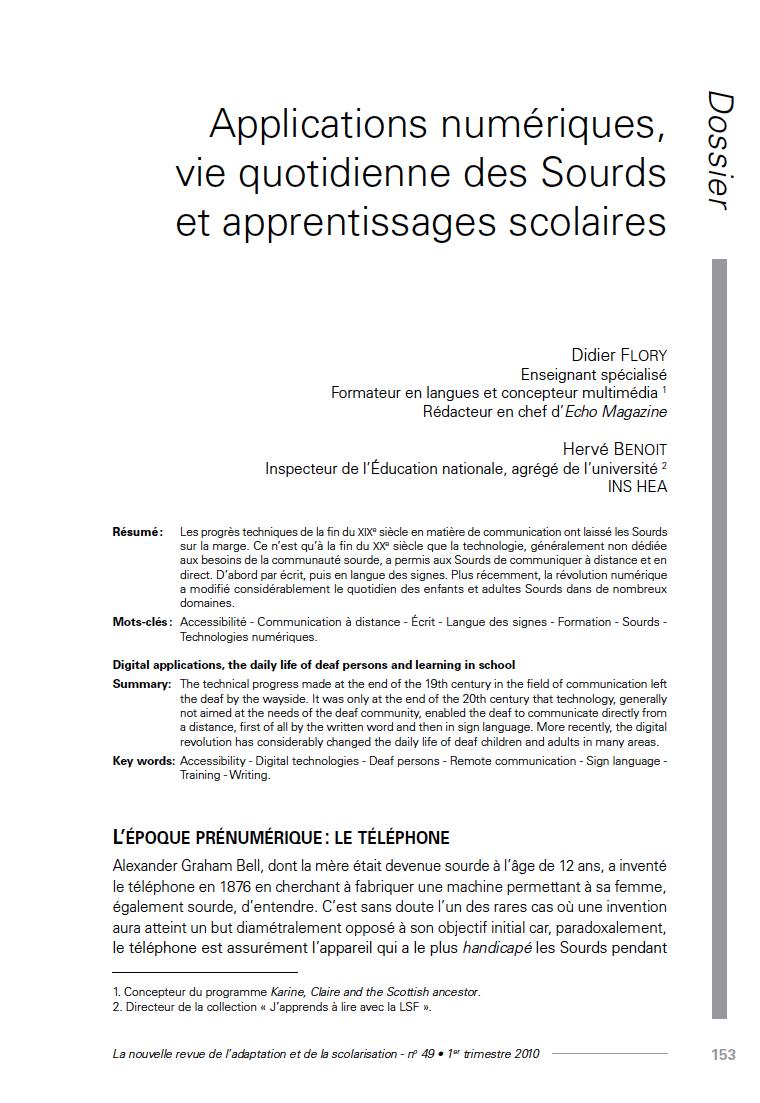 """Première page de l'article """"Applications numériques, vie quotidienne des Sourds et apprentissages scolaires"""""""