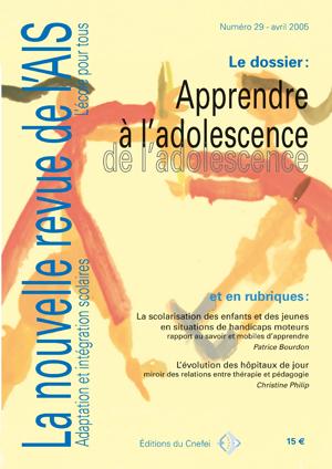 Couvertuire de La nouvelle revue de l'adaptation et de la scolarisation, n°29