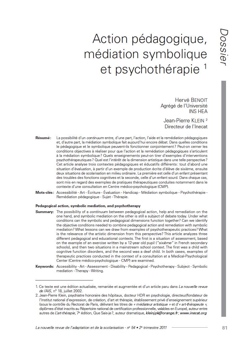 """Première page de l'article """"Action pédagogique, médiation symbolique et psychothérapie"""""""