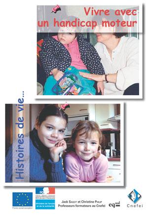"""Couverture de l'ouvrage """"Vivre avec un handicap moteur"""". Cette couverture est illustrée par deux photos d'enfants."""