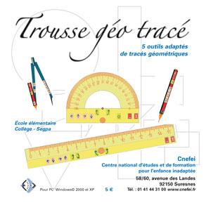 """Jaquette du logiciel """"Trousse géo tracé"""" illustrée par des outils géométriques (compas, etc.)"""