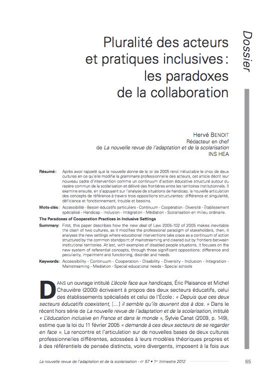 Première page de l'article d'Hervé Benoit « Pluralité des acteurs et pratiques inclusives: les paradoxes de la collaboration »