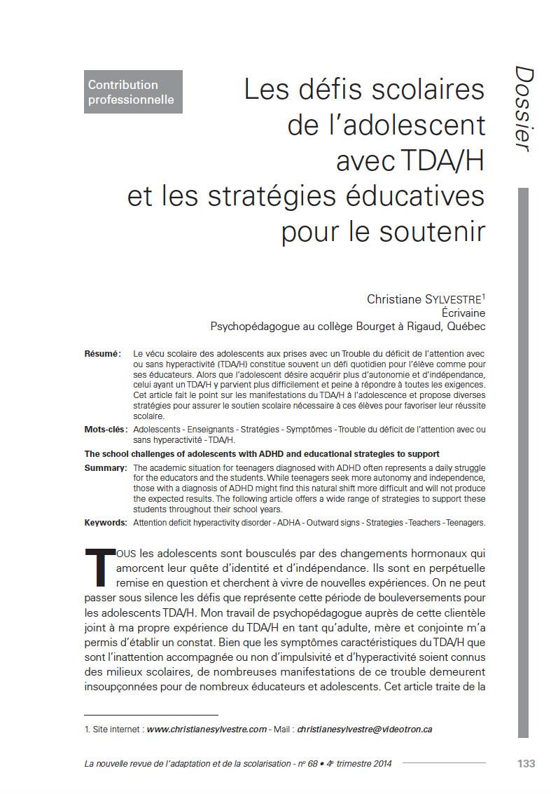 Première page de l'article de Christiane Sylvestre «Les défis scolaires de l'adolescent avec TDA/H et les stratégies éducatives pour le soutenir»