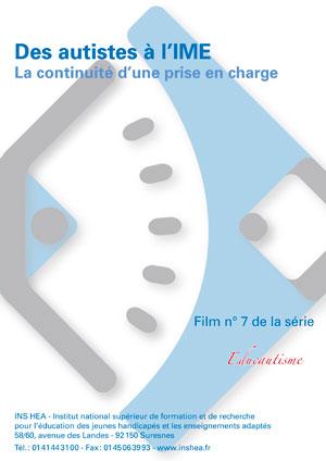 """Jaquette du film """"Des autistes à l'IME, continuité d'une prise en charge"""". Sans visuel."""