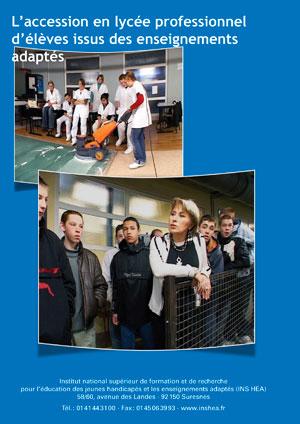 """Jaquette du film """"L'accession en Lycée professionnel d'élèves issus des enseignements adaptés"""" illustrée par deux photos d'élèves en lycée professionnel"""