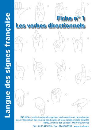 """Jaquette du film """"Langue des signes française (LSF) : 1. Les verbes directionnels"""" illustrée par l'alphabet de la LSF."""