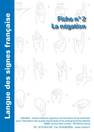 """Jaquette du film """"Langue des signes française (LSF) : 2. La négation"""",  illustrée par l'alphabet de la LSF."""