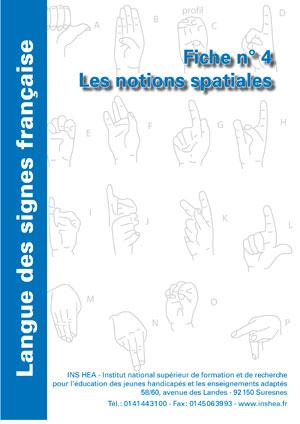 """Jaquette du film """"Langue des signes française (LSF) : 4. Les notions spatiales"""", illustrée par l'alphabet LSF."""