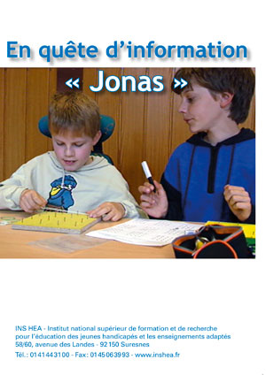 """Jaquette du film """"Enfants malades. En quête d'informations : Jonas"""" illustrée d'une photo de deux élèves."""
