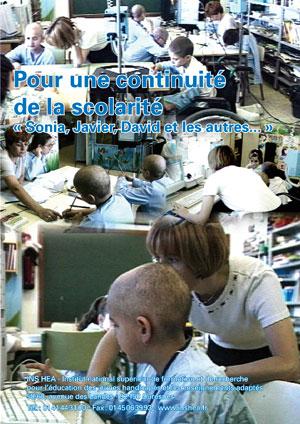 """Jaquette du film """"Enfants malades : Pour une continuité de la scolarité : Sonia, Javier, David et les autres…"""", illustrée de photos d'enfants hospitalisésr"""