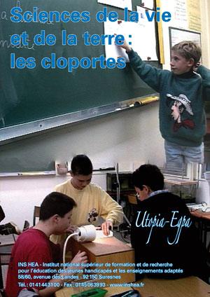 """Jaquette deu film """"Sciences de la Vie et de la Terre (SVT). Les cloportes""""  illustrée par deux photos d'élèves en classe."""