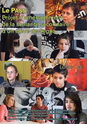 """Jaquette du film """"Le Pass. Projet d'aménagement de la scolarité secondaire d'un élève de Segpa"""" illustrée par huit photos de collégiens et d'enseignants."""