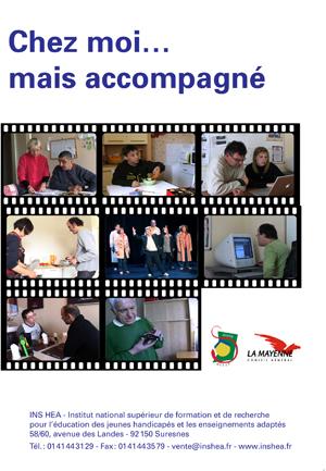 """Jaquette du film """"Chez moi… mais accompagné"""", illustrée par plusieurs photos de personnes en situation de handicap"""